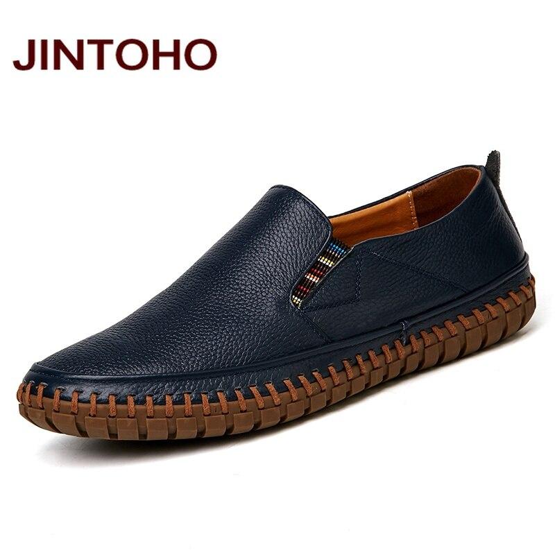 JINTOHO duży rozmiar mężczyźni oryginalne skórzane buty
