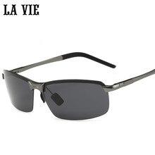 LA LV8143 VIE 偏光リムレスサングラス男性ミラーコーティング合金フレームサングラス
