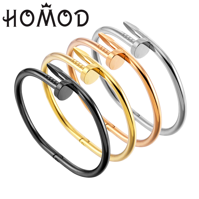 HOMOD Hot Sale From Factory Price Sale Fashion Personality Style Women Nail Bracelet Titanium Stainless Steel Open Couple Bangle