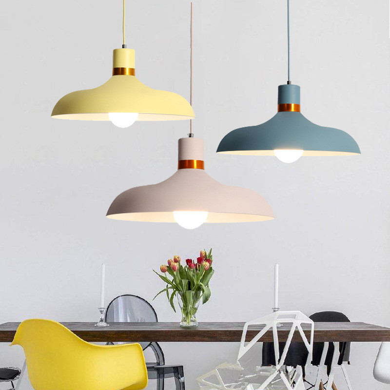 Nordic Pendant Lights Macaron Aluminum LED pendant lamp Colorful Hanglamp for living room Kitchen Light Ceiling Fixtures