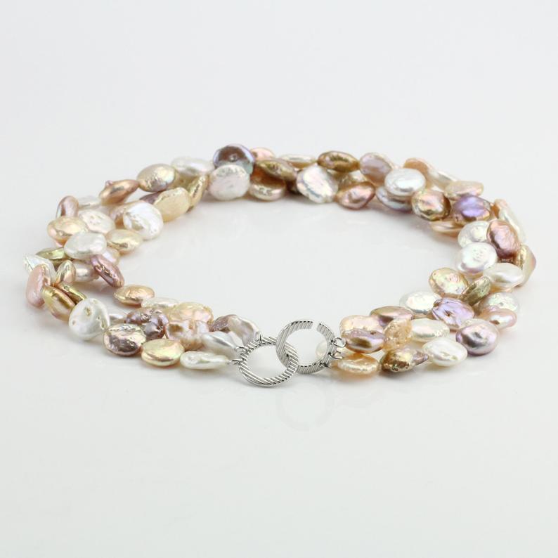 Collier de perles de monnaie, 12mm 3 lignes Multi arc-en-ciel couleur perle nouée bijoux, charmant mariage mariée demoiselle d'honneur cadeau de fête