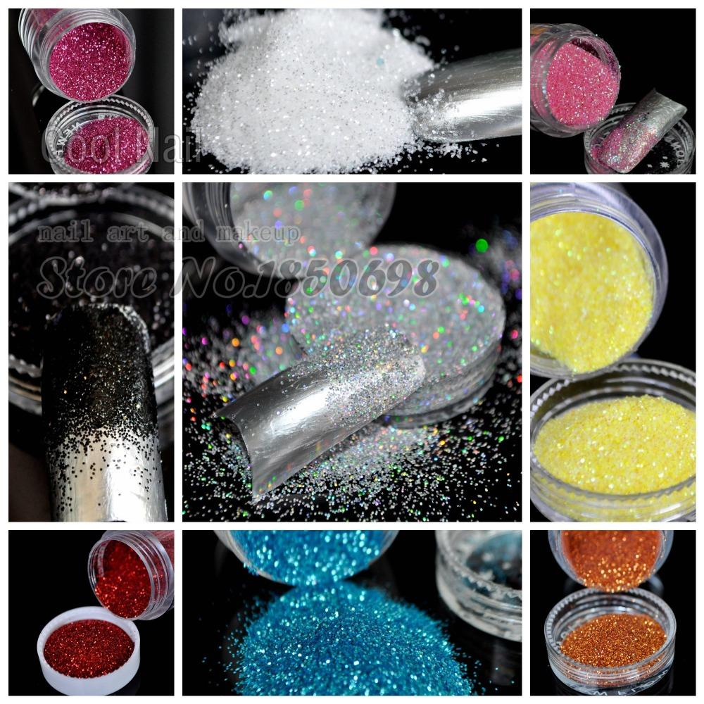 Beautiful UV Glitter Powder Dust Shimmer Glitter Nail Art DIY Design Decorations material 16 color for choose
