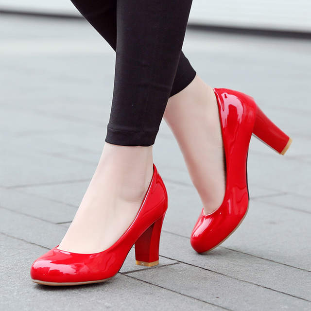 Size 31-47 Women High Heel Pumps Red Thick Heel Pumps Round Toe Pump Sexy 4c1fa5b33338