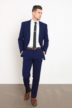 Fashionable Dark Blue Wedding Suits for Men Business Mens Suits 2 Pieces Slim Fit (Jacket+Pants) Groom Tuxedos Groomsman Suits
