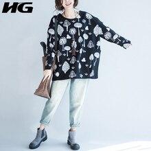 [HG] Autumn 2017 Korea New Fashion Casual Women Print Pullover Loose Sweatshirts Female Full Sleeve O-Neck Sweatshirts WYR072