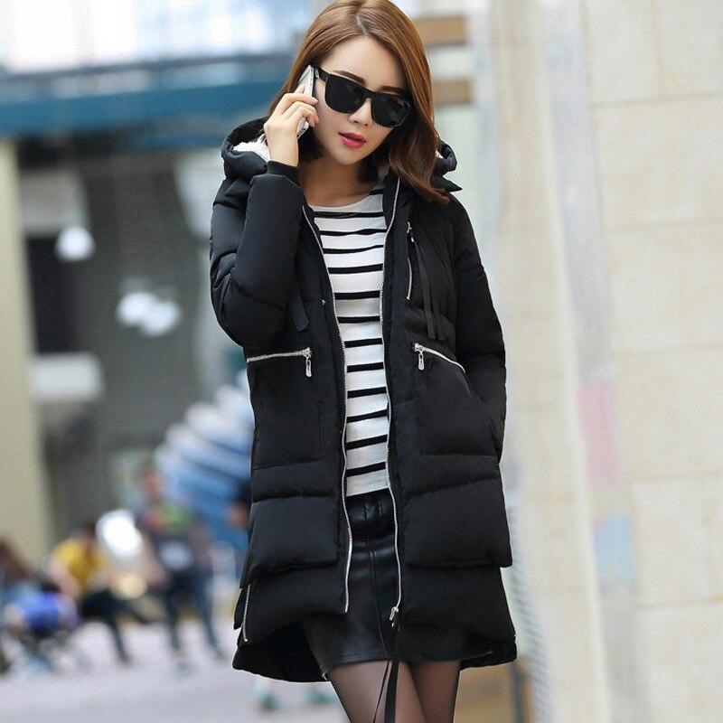 Зимняя куртка, Женское зимнее пальто с хлопковой подкладкой, женские парки, толстая теплая хлопковая одежда с капюшоном, верхняя одежда, плюс размер 5XL K680 - Цвет: black