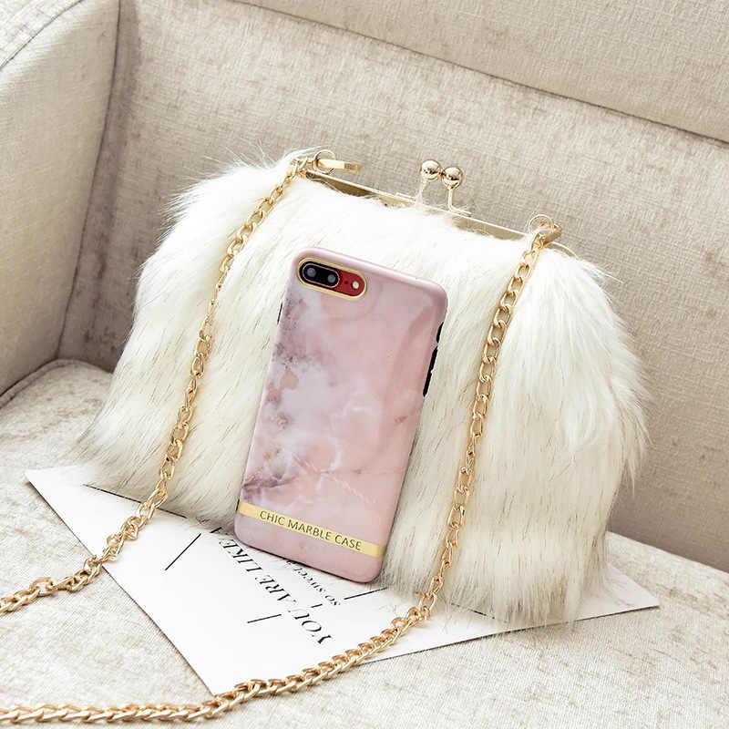 50a44a563421 ... 2018 Luxury Fox Fur Women Mink Fur Bag Fox Fur Shoulder Bag Ladies PU  Leather Fur ...