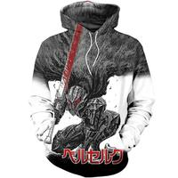 New 2019 Berserk Berserker 3D Print Hoodies Clothing Sweatshirt Men Novelty Streetwear Hooded Long Sleeve Cartoon Costume