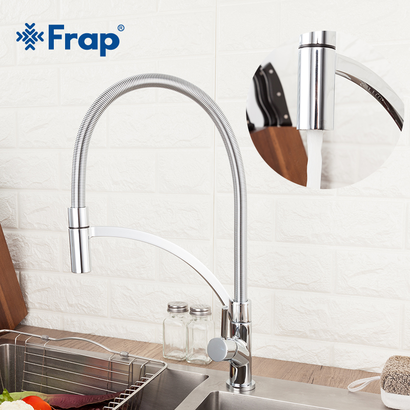 Frap Kitchen Faucets Brass Faucets For Kitchen Sink Single Lever Pull Down Spout Mixers Tap Hot Cold Water Crane Y40106-1