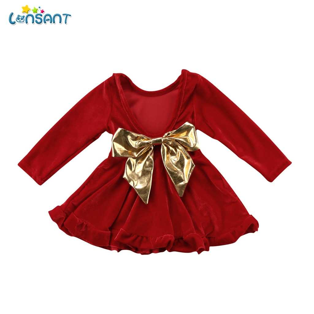 52592cc6d517 LONSANT Christmas Kids Baby Girl Dresses Red Velvet Long Sleeve Costumes  Bowknot Party Dress Princess Pageant