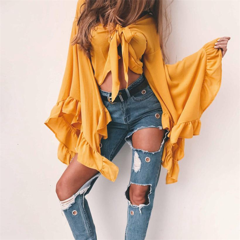 Women Blouses Sexy Bandage Knot Front Elegant Clothes Long Butterfly Sleeve Crop Top Blouse 2017 New Gray&Pink&Yellow #HFR52