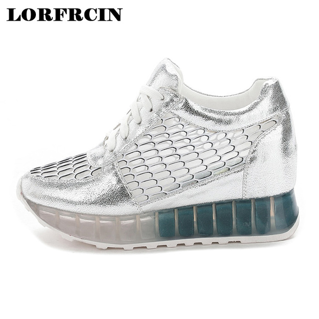 6838c540e63c 2017 Fashion Casual Women Shoes Height Increasing Ladies Shoes Mesh  Breathable Platform Shoes Lace-up