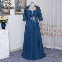 Спагетти Hunter Зеленый шифон плюс Размеры Сексуальная мама невесты платье со съемными куртка длинные Наряды на свадебную вечеринку корсет