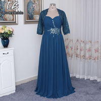 Spaghetti Hunter Green Chiffon Plus Size Sexy Mother of the Brides Dress with Removable Jacket Long Wedding Party Dress Corset