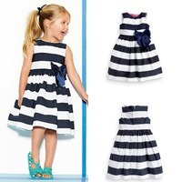 Baby Kid Girls Sleeveless One Piece Dress Blue Striped Bowknot Tutu Dresses Summer