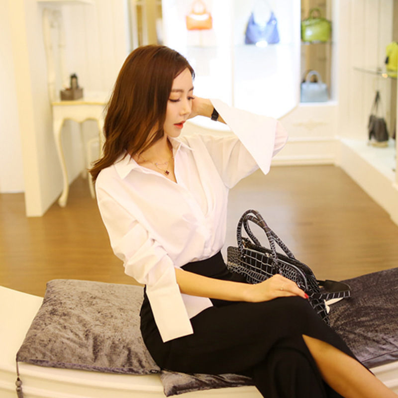 Set female 2019 new fashion long sleeve gap OL commuter white shirt loose thin and wide leg pants casual two-piece