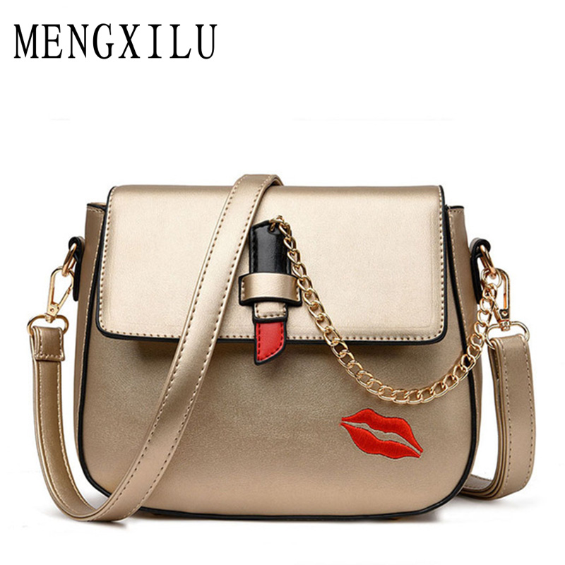 Famous Brand 2017 New Fashion Saddle Bag Women Messenger Bags High Quality Chains Woman Bag Ladies PU Leather Lady Crossbody Bag new fashion women brand solid pu leather handbag high quality brown shoulder lady messenger bag vintage crossbody bags