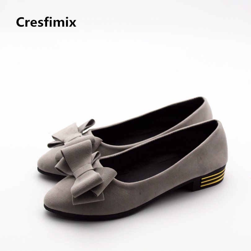 Cresfimix women cute spring & summer slip on flat shoes with bow tie lady casual grey shoes zapatos de murjer female cute shoes cresfimix sapatos femininas women casual soft pu leather flat shoes with side zipper lady cute spring