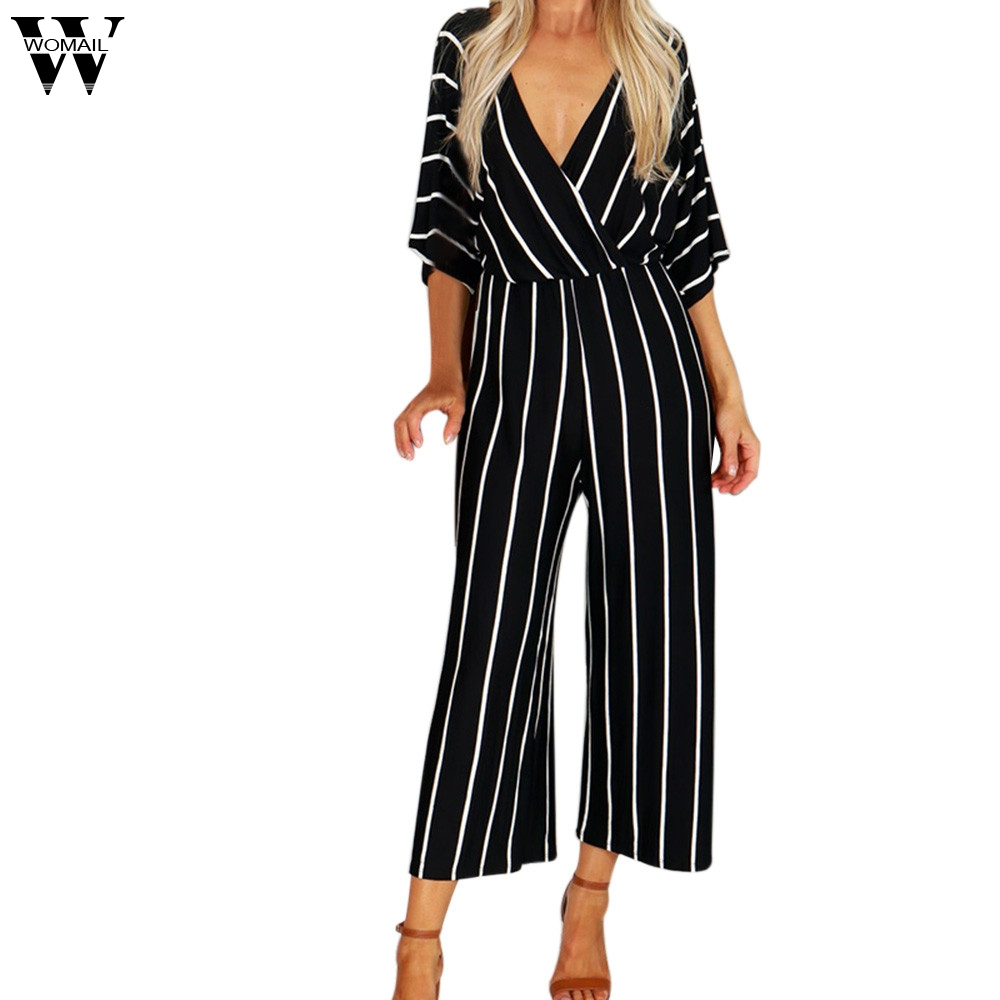 Womail bodysuit Women Summer Fashion V-Neck Three Quarter Sleeve Striped Loose   Jumpsuit   Playsuit Casual NEW dropship M7
