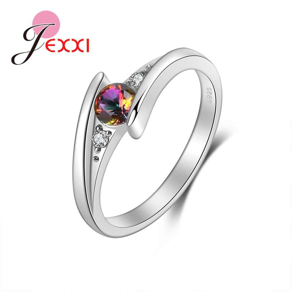 925 Sterling Silver Simple Rings With White And Rainbow Color Zircon For Women Wedding Party Popular Decoration Fancy Gift