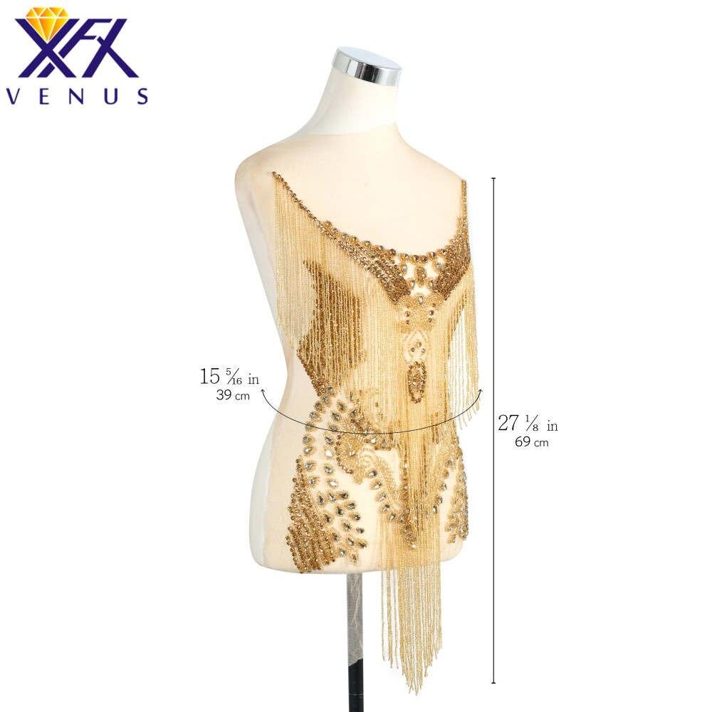 XFX VENUS Lady Pure Handmade Dress Wedding Dress Applique Patch Bridal Supplies Crystal Sequin Rhinestone Beaded