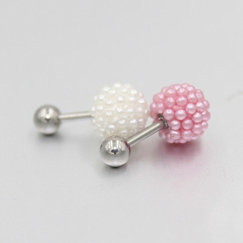 1pcs Fashion Full Faux Pearl Earring Nail Ear Bone Barbell Earring helix Ear Stud Tragus Ear body Piercing jewelry 1.2x6x8/4mm