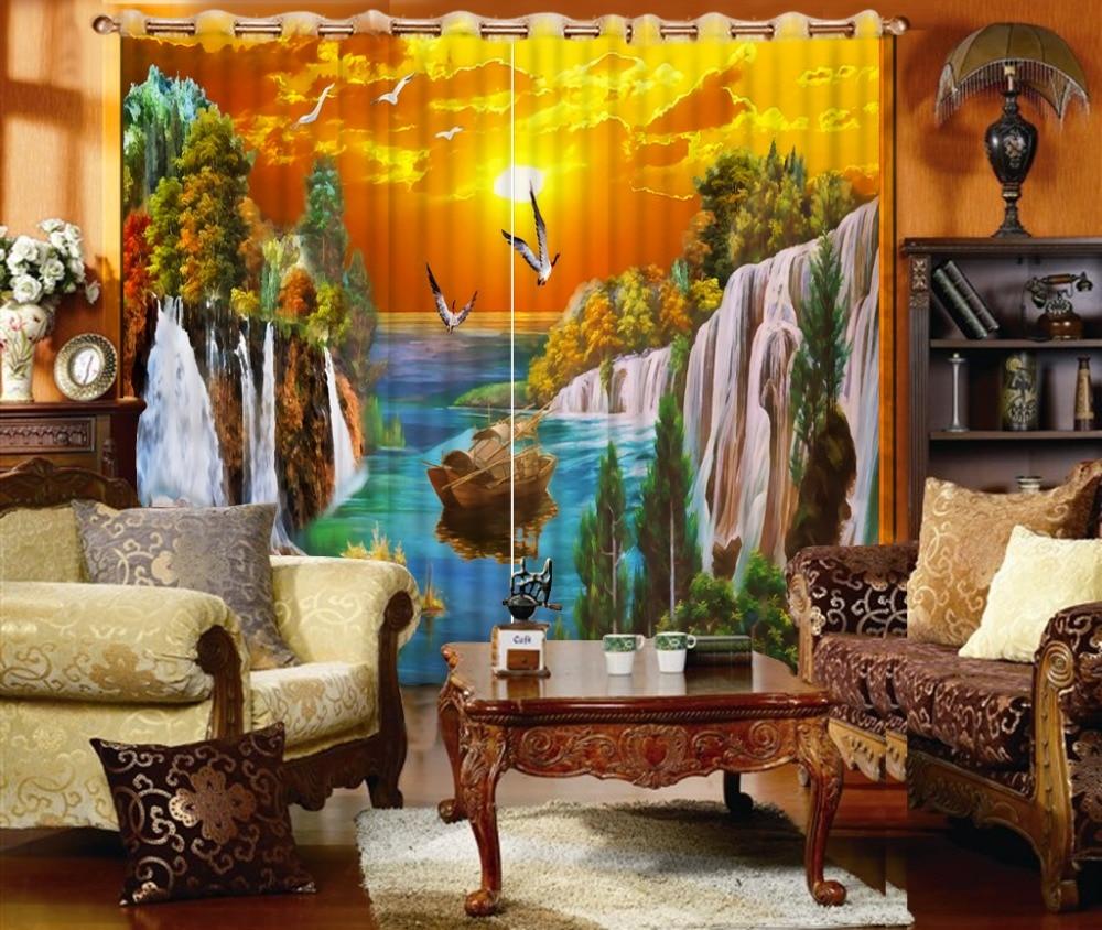 waterfall curtains Beautiful Photo Fashion Customized 3D Curtains High quality custom 3d curtain fabric