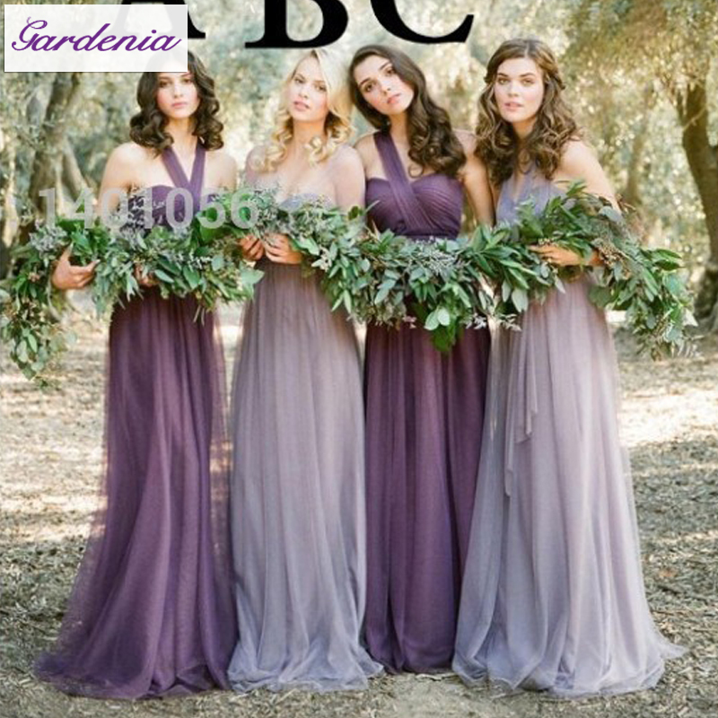 Modest Lilac Vestido De Festa Long Bridesmaid Dresses Soft Tulle One ...