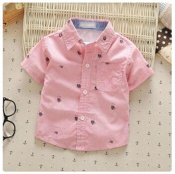 4489bdb19af0 1-4y baby boys summer shirts turn-down collar cotton little children  clothing short