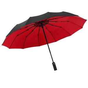 Image 5 - Paraguas de negocios grandes para hombre y mujer, sombrilla automática completa con 12 costillas, tres Paraguas Plegable para hombre y mujer, 2020