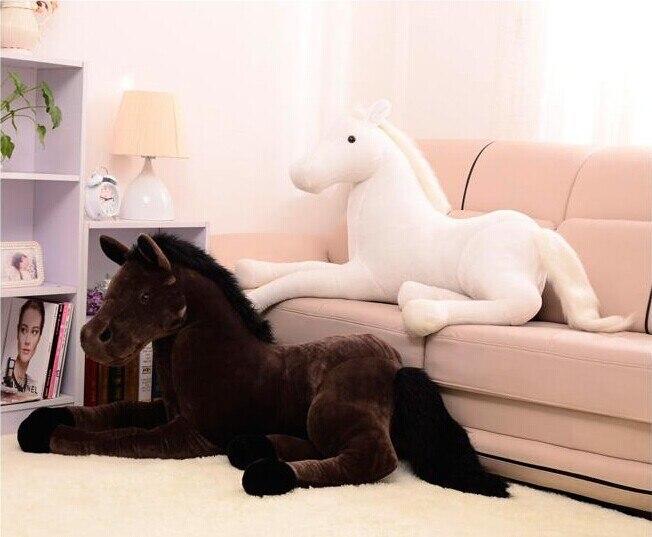 Grand 120 cm simulation cheval en peluche jouet sujettes cheval poupée cadeau De Noël 1 pc