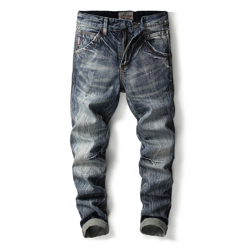 Superably Brand Jeans Men Dark Color Denim Pants Classical Jeans Stretch Slim Fit Men Jeans High Quality Cotton Ripped Jeans