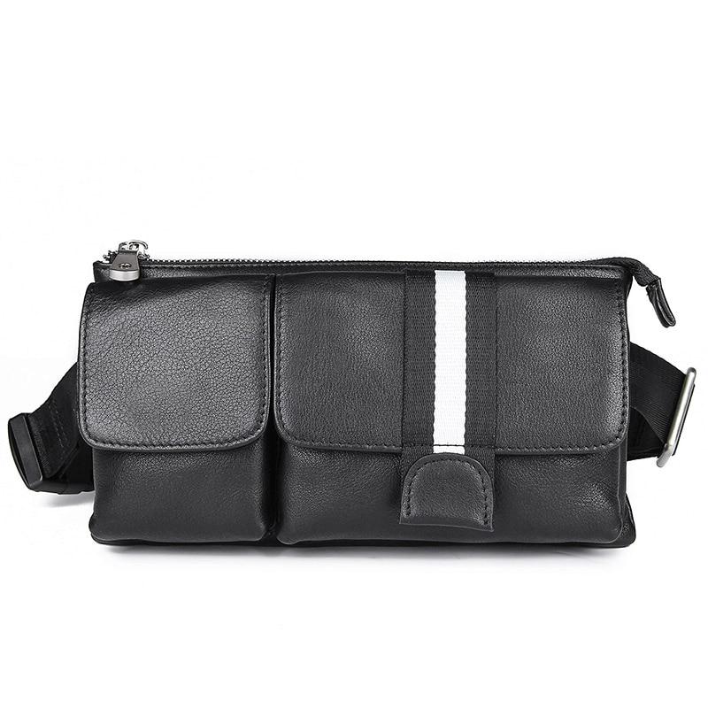 Sac de taille en cuir véritable sac de Style décontracté sac banane en cuir de vachette pochette de ceinture de hanche petit sac de poitrine noir 3018A