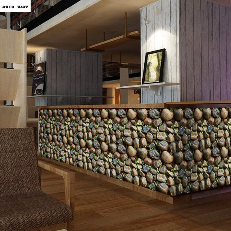 Creative simulation 3D stone wall stickers Store Bar Wallpaper counter Background wall Self-adhesive PVC wallpaper free shipping