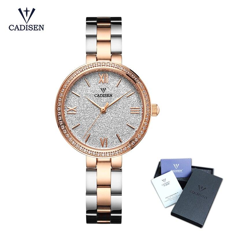 Cadisen Топ Для женщин часы Роскошные модные элегантные достойный бриллиантами кварцевый аналоговый леди из нержавеющей стали, ремешок