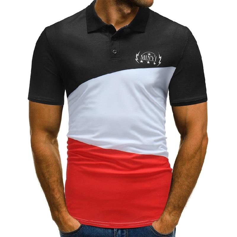 GustOmerD Summer   Polo   shirt Mens Short Sleeve Print Slim Fit Casual Mens Three Color Contrast Color   Polo   Shirt Men