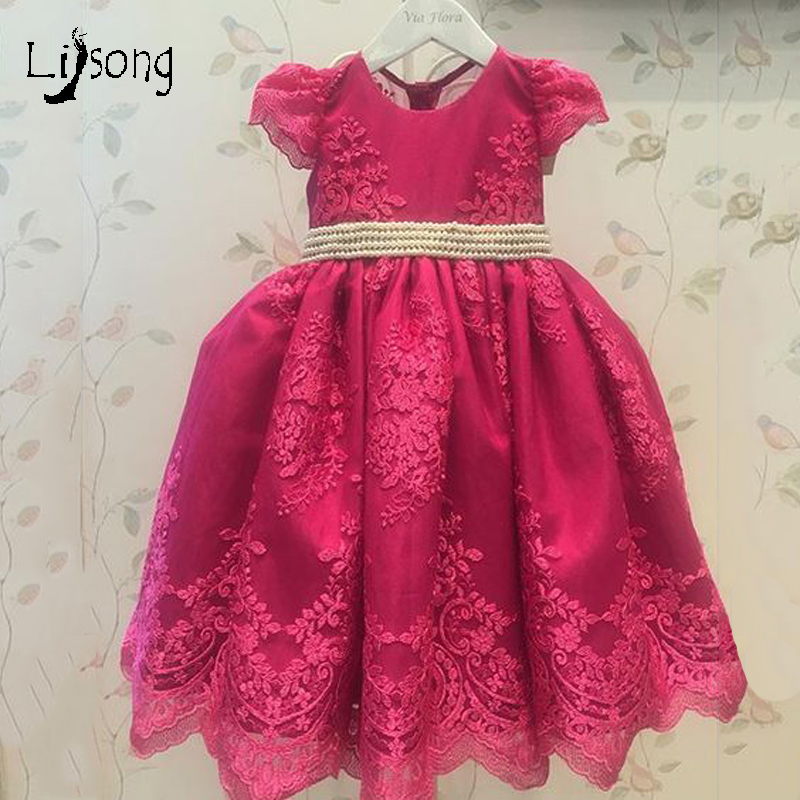 Burgundy Appliques Lace Lovely   Flower     Girl     Dress   with Bow Beading Sashes Custom Made Knee Length Little   Girls   Formal Gowns 2018