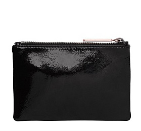 PART 1 LEATHER MI LOVE ZIP POUCH WALLET CLUTCH BAG WITH METAL PULLER SMALL SIZE 15 X 10 CM image