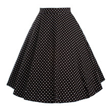 2016 Women Skirt Summer Women's High Waist Skater Dots Flared Pleated Skirts