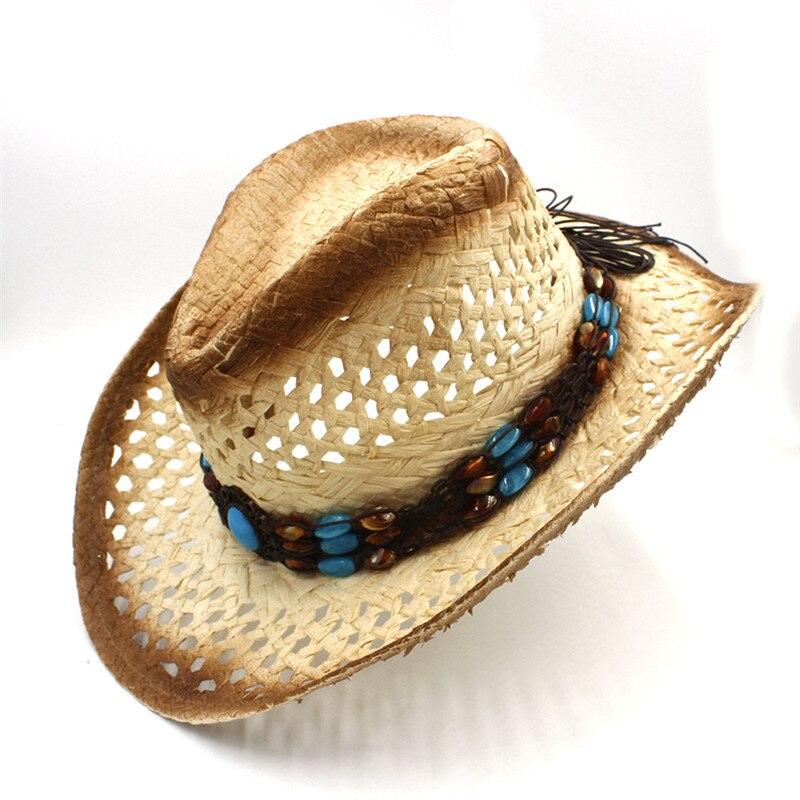 100% trabajo hecho a mano de las mujeres del verano de rafia hueco sombrero  de vaquero occidental Caballero palabra cowgirl Jazz sombrero Sol cap en ... 80f2cf8b7b5