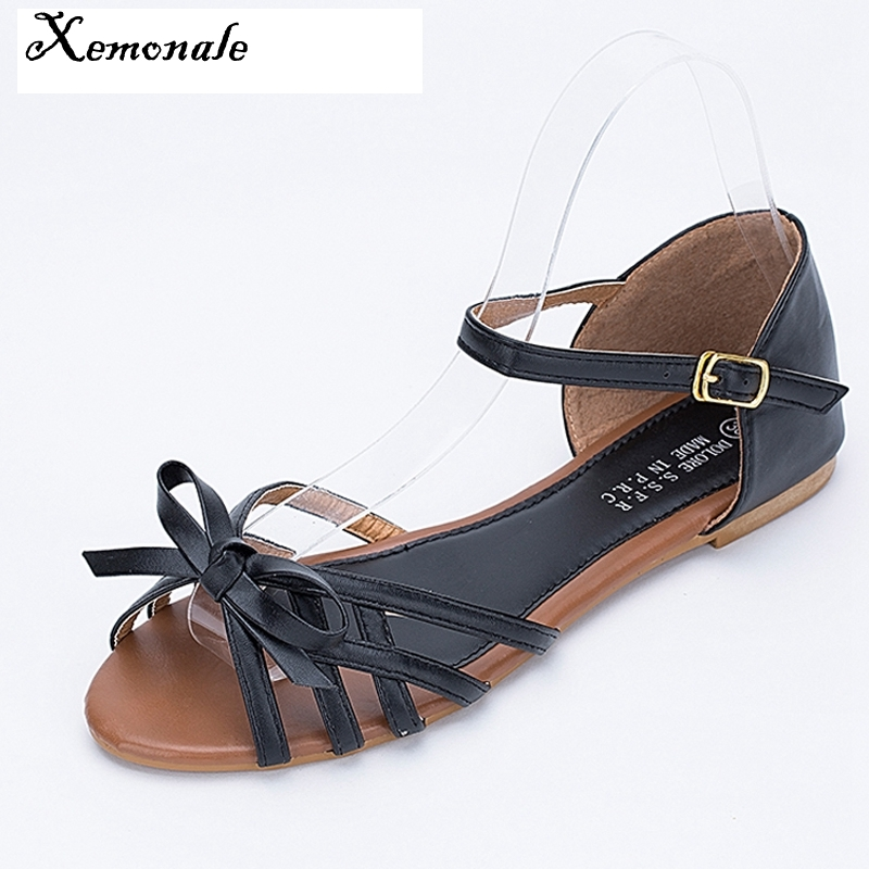 Xemonale 2017 Gladiator Sandals With Bowtie Summer Style Buckle Platform Sandals Casual Flats Shoes Woman 3 Colors size 36-41 phyanic 2017 summer gladiator sandals straw platform creepers silver shoes woman buckle casual women flats shoes phy4046