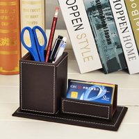 Leather Wooden Desk Organizer Pen Pencils Holder Box With Business Card Stand Remote Control Case Desk