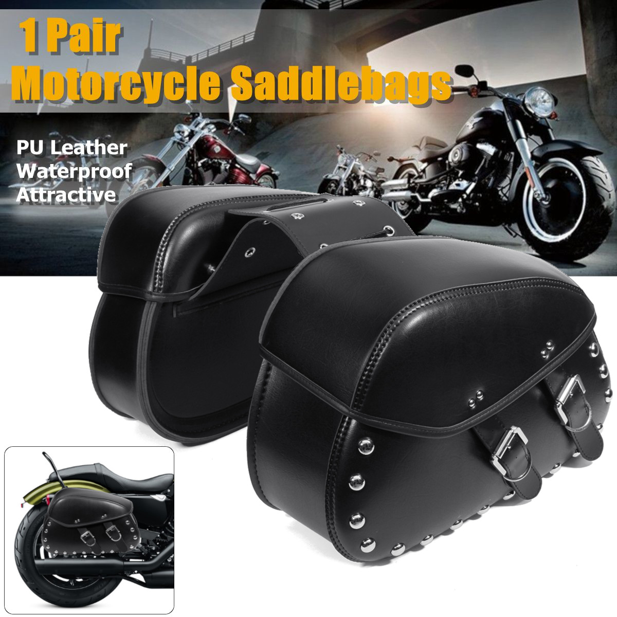 2pcs Black Universal Motorcycle PU Leather Left Right Side Saddlebag Luggage Saddle Bag for Harley new 2pcs female right left vivid foot mannequin jewerly display model art sketch
