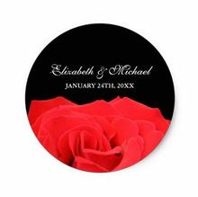 1 5inch Red Rose and Black Wedding Favor Label Classic Round Sticker