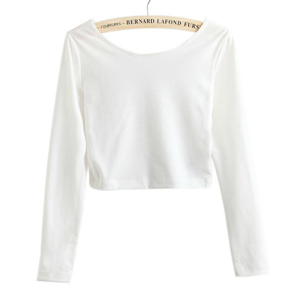 386c5b4b9eb91 Fashion Women T Shirt Long Sleeve Crop Top Solid O Neck Crew Neck Tights  Ladies Solid Short T Shirt-in T-Shirts from Women's Clothing on  Aliexpress.com ...