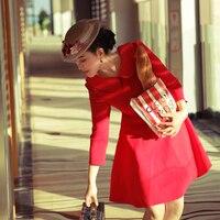 Original design vintage retro elegant Hepburn style red dress 50s 60s dress peter pan collar long sleeve women high quality LBD