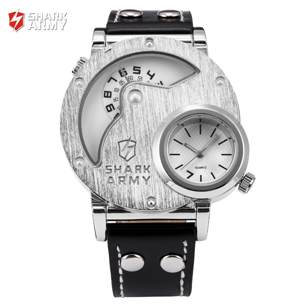 SHARK ARMY Stainless Steel Big Dual Leather Watch Strap Sport Quartz Relogio Masculino Military Wristwatch Mens Watch / SAW054 salmon shark sport watch stainless steel silver case white 3d dial round mens luminous silicone strap casual wristwatch sh169
