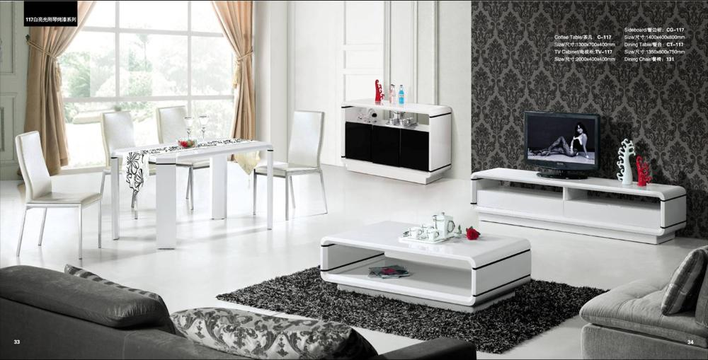 House Furniture Set 4 Piece: Coffee Table,TV Cabinet,Sideboard And Dinning Table  Set,Piano Paint Wood Home Furniture YQ117