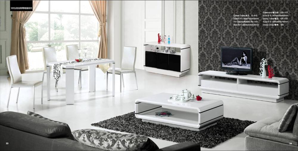 Tv Kast Salon Tafel.Huis Meubels Set 4 Stuk Salontafel Tv Kast Dressoir En Eettafel