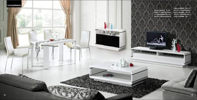 Tv Kast Dressoir.Huis Meubels Set 4 Stuk Salontafel Tv Kast Dressoir En Eettafel